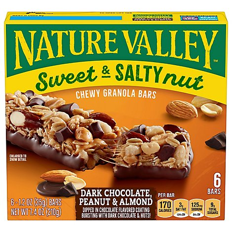Nature Valley Granola Bars Sweet & Salty Nut Dark Chocolate Peanut & Almond - 6-1.24 Oz
