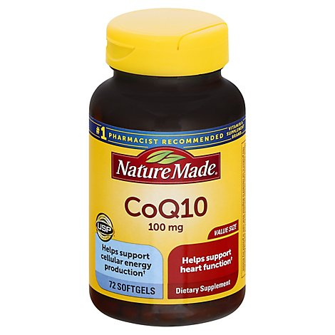 Nature Made CoQ10 100 mg Liquid Softgels Naturally Orange - 72 Count