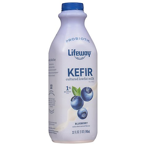 Lifeway Kefir Cultured Milk Smoothie Lowfat Blueberry - 32 Fl. Oz.