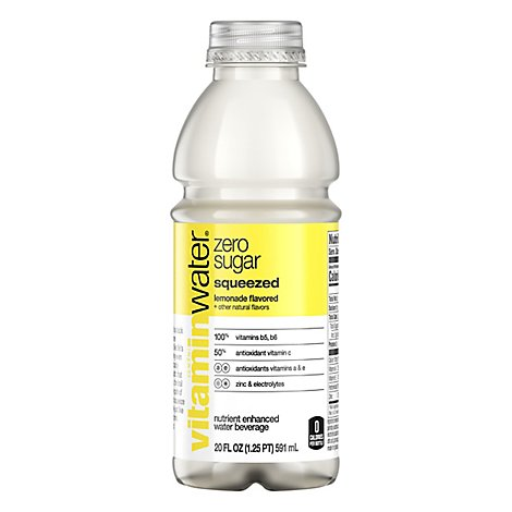 vitaminwater Zero Water Beverage Nutrient Enhanced Squeezed Lemonade - 20 Fl. Oz.