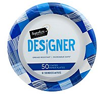 Signature SELECT Plates Paper Designer Coated 10.25 Inch Blue - 50 Count