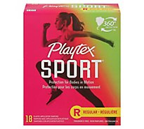 Playtex Sport Plastic Tampons Flexfit Unscented Regular Absorbency - 18 Count