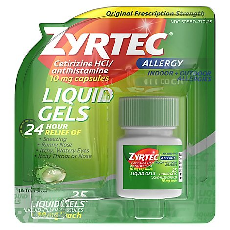 ZYRTEC Allergy Antihistamine Liquid Gels Original Prescription Strength 10 mg - 25 Count