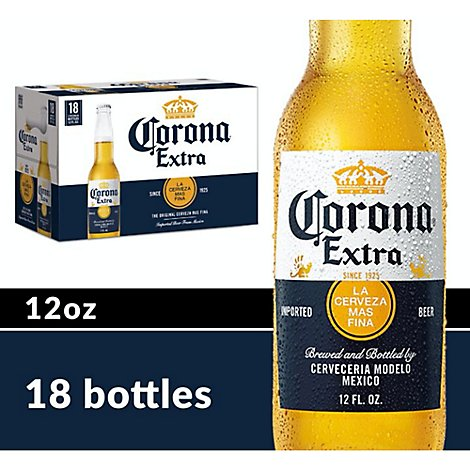 Corona Extra Beer Mexican Lager 4.6% ABV Bottles - 18-12 Fl. Oz.