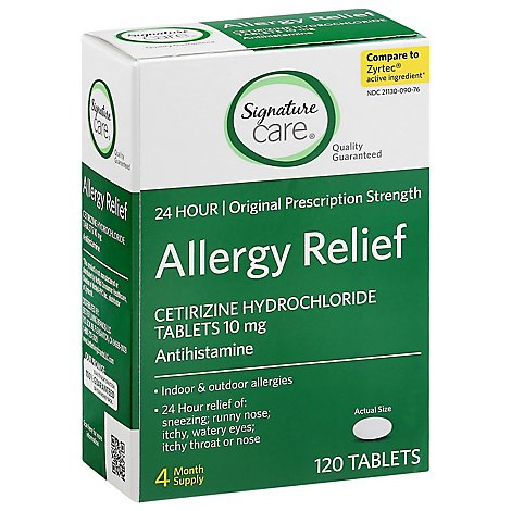 Signature Care Allergy Relief Cetirizine Hydrochloride 10mg Antihistamine Tablet - 120 Count