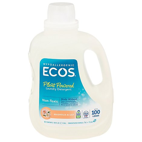 ECOS Laundry Detergent Liquid With Built In Fabric Softener 2X Magnolia & Lily Jug - 100 Fl. Oz.