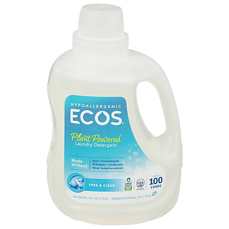 ECOS Laundry Detergent Liquid With Built In Fabric Softener 2X Free & Clear Jug - 100 Fl. Oz.