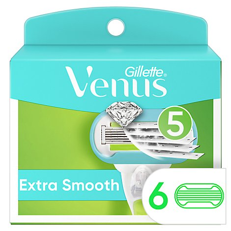 Gillette Venus Extra Smooth Womens Razor Blade Refill - 6 Count