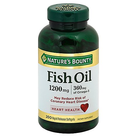 Natures Bounty Fish Oil 1200 Mg Omega-3 & Omega-6 Softgels - 180 Count