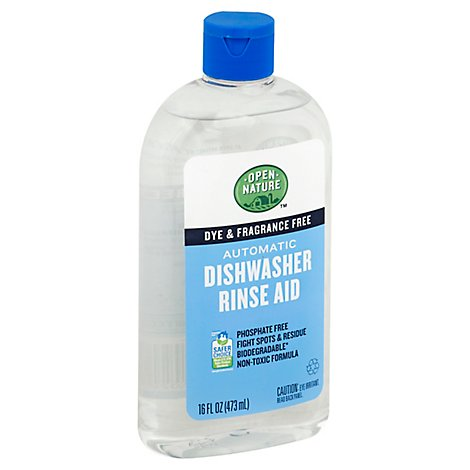 Open Nature Rinse Aid Automatic Dishwasher Dye & Fragrance Free Bottle - 16 Fl. Oz.