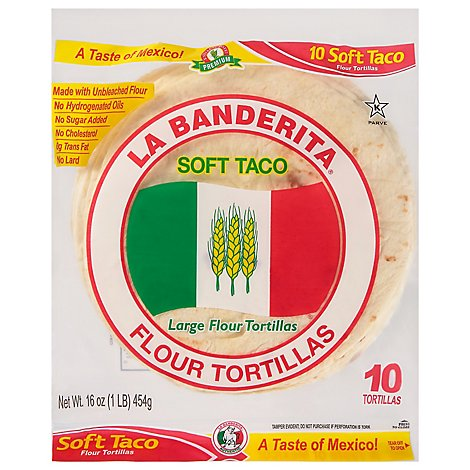 La Banderita Tortillas Flour Large Soft Taco Bag 10 Count - 16 Oz