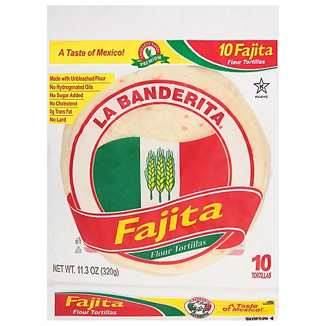 La Banderita Tortillas Flour Fajitas Bag 10 Count - 11.2 Oz