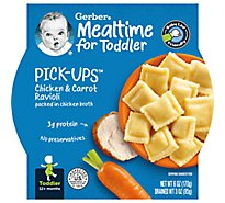Gerber Pick-Ups Baby Food Toddler Chicken & Carrot Ravioli In Chicken Broth - 6 Oz