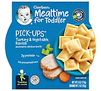 Gerber Pick-Ups Baby Food Toddler Turkey & Vegetable Ravioli in Chicken Broth - 6 Oz