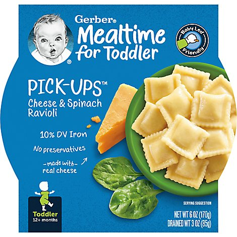 Gerber Pick-Ups Baby Food Toddler Cheese & Spinach Ravioli - 6 Oz