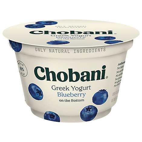Chobani Yogurt Greek Non Fat On The Bottom Blueberry - 5.3 Oz