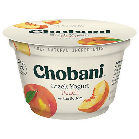 Chobani Yogurt Greek Fruit On The Bottom Non-Fat Peach - 5.3 Oz