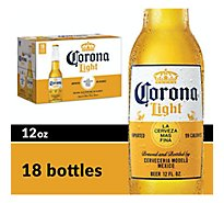 Corona Light Mexican Import Beer Bottles 4.1% ABV - 18-12 Fl. Oz.