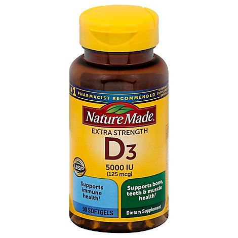 Nature Made Vitamin D Supplement Softgels D3 5000 IU - 90 Count