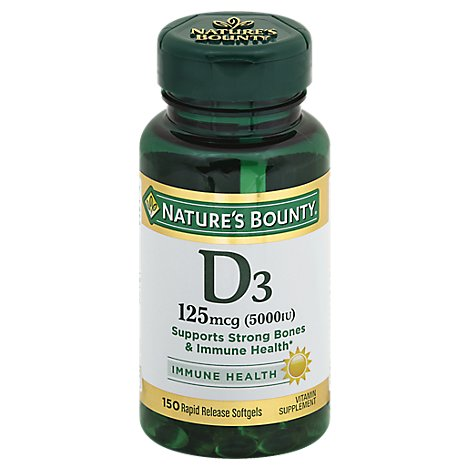 Natures Bounty Vitamin Supplement Softgels D3 5000 IU - 150 Count