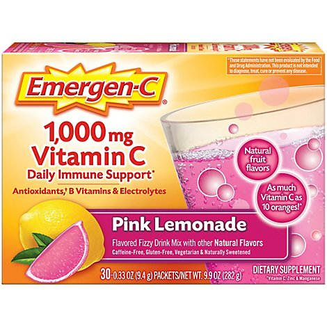 Emergen-C 1000 mg Vitamin C Pink Lemonade Drink Mix - 30-0.33 Oz.