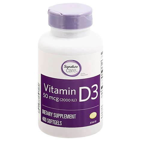 Signature Care Vitamin D3 50mcg Dietary Supplement Softgel - 400 Count