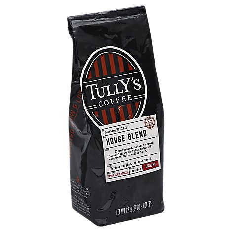 Tullys Coffee Coffee Ground Medium Roast Balanced House Blend - 12 Oz