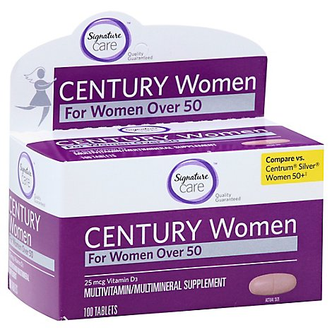 Signature Care CENTURY Women Over 50 Vitamin D 1000IU Dietary Supplement Tablet - 100 Count