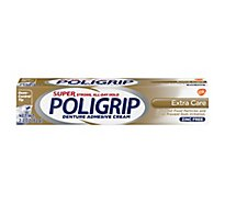 Super Poligrip Denture Adhesive Cream Ooze-Control Tip Super Strong Extra Care - 2.2 Oz
