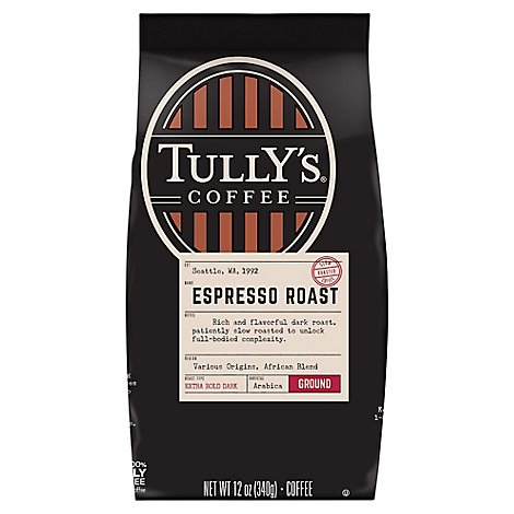 Tullys Coffee Coffee Ground Dark Roast Grand Espresso Roast - 12 Oz