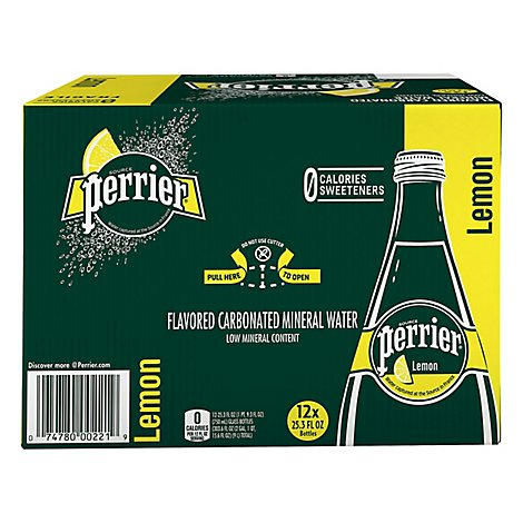 Perrier Water Mineral Sparkling Natural Lemon - 12-25 Fl. Oz.