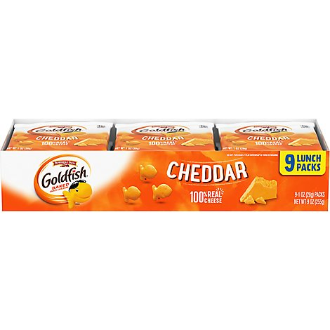 Pepperidge Farm Goldfish Crackers Baked Snack Cheddar Tray 9 Pack - 9-1.0 Oz