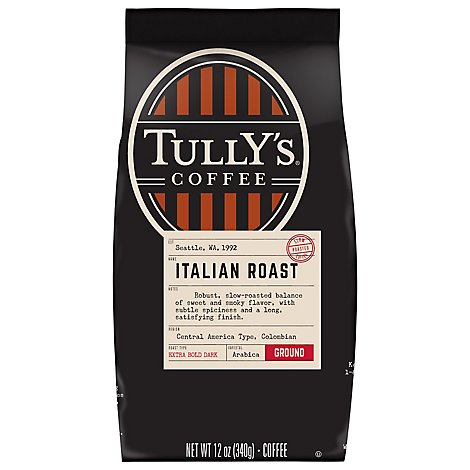 Tullys Coffee Coffee Ground Dark Roast Grand Italian Roast - 12 Oz