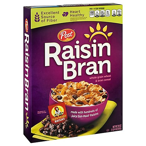 Raisin Bran Cereal Whole Grain Wheat & Bran With Sun-Maid Raisins - 20 Oz