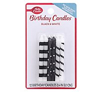Betty Crocker Candles Black And White - 12 Count