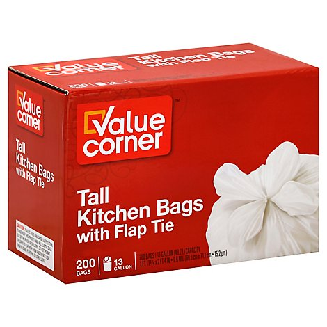 Value Corner Kitchen Bags Flap Tie Tall 13 Gallon - 200 Count