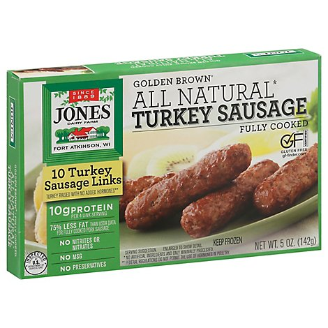 Jones Dairy Farm Sausage All Natural Golden Brown Turkey Links 10 Count - 5 Oz
