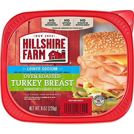 Hillshire Farm Ultra Thin Sliced Lunchmeat Lower Sodium Oven Roasted Turkey Breast - 8 Oz