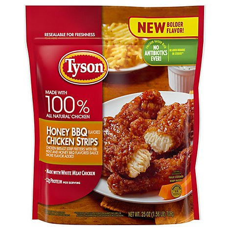 Tyson Fully Cooked Honey BBQ Chicken Strips 25 Oz Frozen