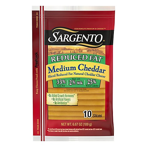 Sargento Reduced Fat Medium Sliced Cheddar Cheese - 6.67 Oz