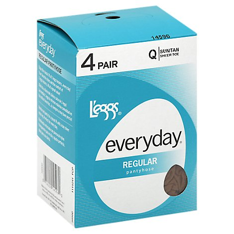 Leggs Everyday Suntan Shree Toe Q Regular Pantyhose - 4 Pair