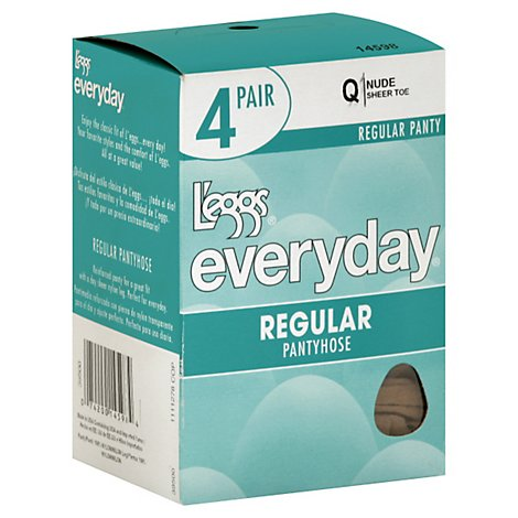 Leggs Everyday Nude Shree Toe Q Regular Pantyhose - 4 Pair