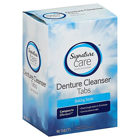 Signature Care Denture Cleanser Tabs Baking Soda - 90 Count