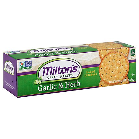 Miltons Crackers Baked Garlic & Herb - 8.3 Oz