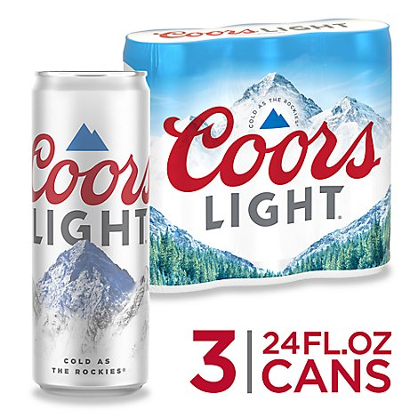 Coors Light Beer Lager 4.2% ABV In Can - 3-24 Fl. Oz.