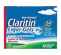Claritin Antihistamine Liqui-Gels Indoor & Outdoor Allergies 10mg - 10 Count