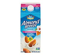 Blue Diamond Almonds Almond Breeze Milk Unsweetened Vanilla 30 Calories - 64 Fl. Oz.