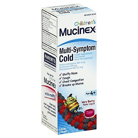 Mucinex Childrens Cold Liquid Medicine Multi Symptom Very Berry Flavor - 4 Fl. Oz.