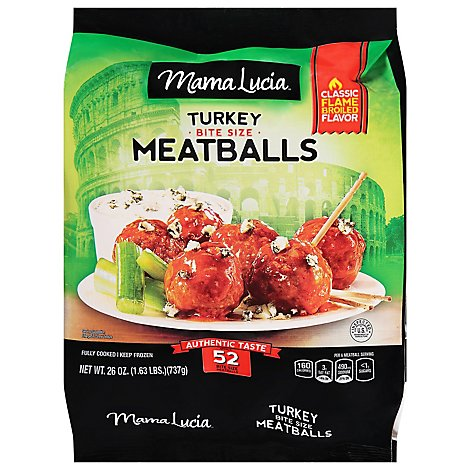 Mama Lucia Meatballs Cocktail Size Italian Style Turkey - 38.4 Oz