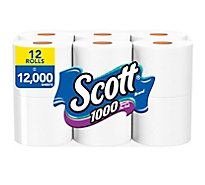 Scott 1000 Bathroom Tissue Unscented 1 Ply - 12 Roll
